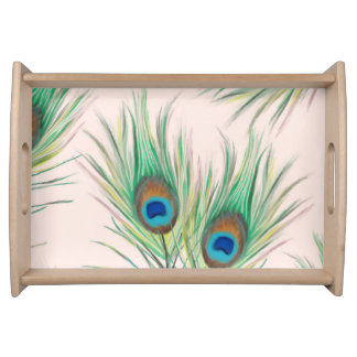 Beautiful Unique Peacock Feathers Pattern Serving Tray