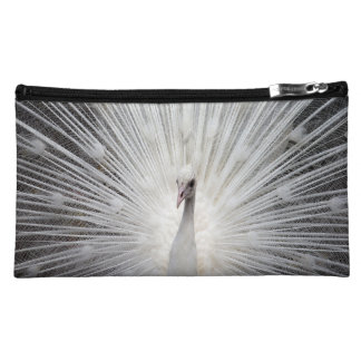 Beautiful & Unique White Peacock Cosmetic Bag