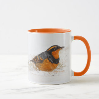 Beautiful Varied Thrush on a Snowy Winter's Day Mug