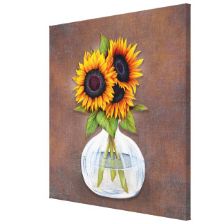 Beautiful Vase of Sunflowers on Rustic Brown Canvas Print