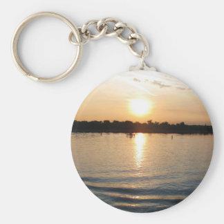 Beautiful Venice lagoon seacape at sunset Key Chains