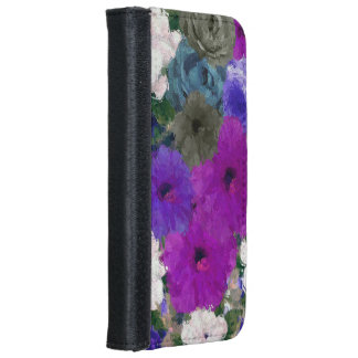 Beautiful Vibrant Abstract Flowers iPhone 6 Wallet Case