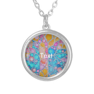 Beautiful Vibrant Colors Abstract Round Pendant Necklace