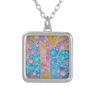 Beautiful Vibrant Colors Abstract Square Pendant Necklace