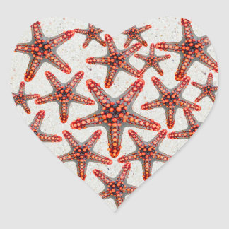 Beautiful Vibrant Red Starfish Sand Ocean Sealife Heart Sticker