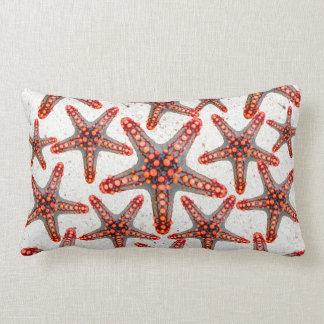 Beautiful Vibrant Red Starfish Sand Ocean Sealife Lumbar Cushion