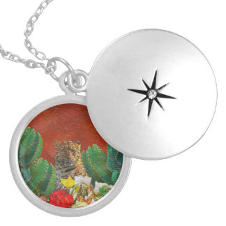 Beautiful Vibrant Tiger Floral Round Locket Necklace