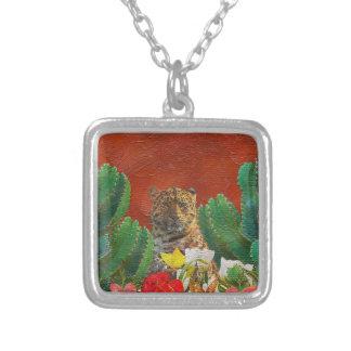 Beautiful Vibrant Tiger Floral Square Pendant Necklace