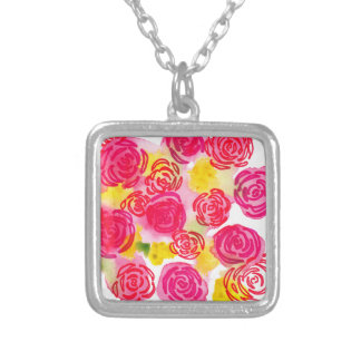 Beautiful vibrant watercolor red and pink roses square pendant necklace