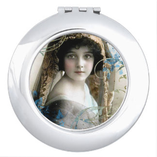Beautiful Victorian Girl Vintage Illustration Travel Mirror