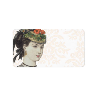Beautiful Victorian Lady - Damask Background Label