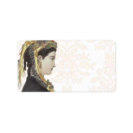 Beautiful Victorian Lady in Profile Damask Back Label