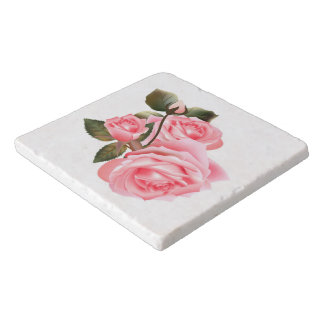 Beautiful Victorian Roses Marble Stone Trivets