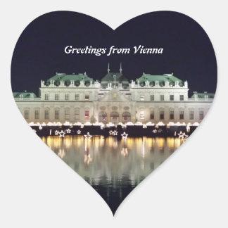 Beautiful Vienna Belvedere in December Heart Sticker
