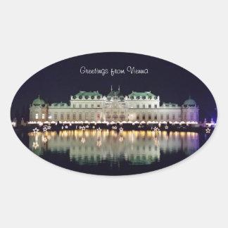 Beautiful Vienna Belvedere in December Oval Sticker