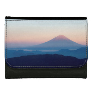 Beautiful view Mt. Fuji, Japan, Sunrise Leather Wallets