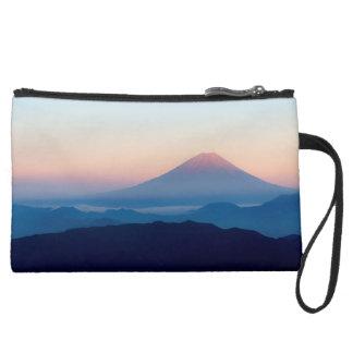 Beautiful view Mt. Fuji, Japan, Sunrise Suede Wristlet