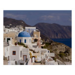 Beautiful village of Oia with white buildings Poster