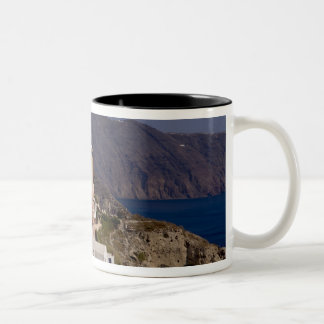 Beautiful village of Oia with white buildings Two-Tone Coffee Mug