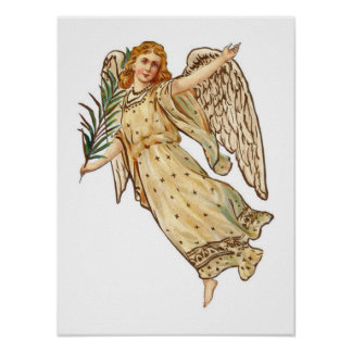Beautiful Vintage Angel In Beige Poster