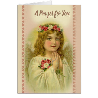 Beautiful Vintage Angel Praying Rosary Card