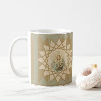 Beautiful vintage angel with cross holding lilies coffee mug