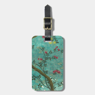 Beautiful vintage antique blossom tree butterflies luggage tag