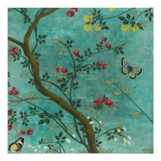 Beautiful vintage antique blossom tree butterflies poster