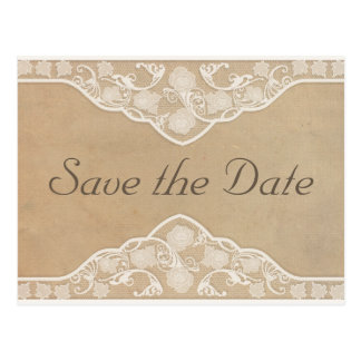 Beautiful Vintage Canvas & Lace Look Save the Date Postcard