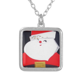 Beautiful Vintage Christmas Santa Silver Plated Necklace