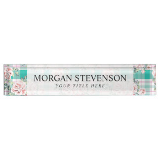 Beautiful Vintage Flowers Rose Pattern Desk Name Plates