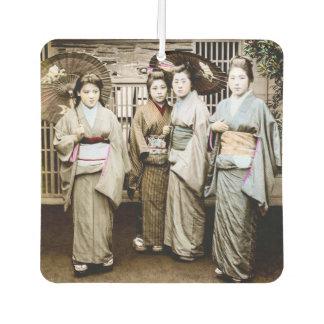Beautiful Vintage Geisha in Kimonos Old Japan Car Air Freshener