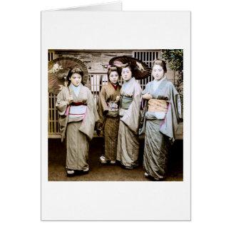 Beautiful Vintage Geisha in Kimonos Old Japan Card