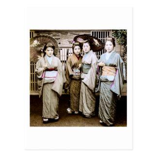Beautiful Vintage Geisha in Kimonos Old Japan Postcard