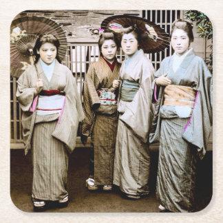 Beautiful Vintage Geisha in Kimonos Old Japan Square Paper Coaster