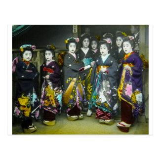 Beautiful Vintage Geisha Japan Magic Lantern Slide Postcard