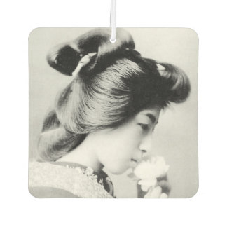 Beautiful Vintage Geisha Smelling a Flower Japan Car Air Freshener
