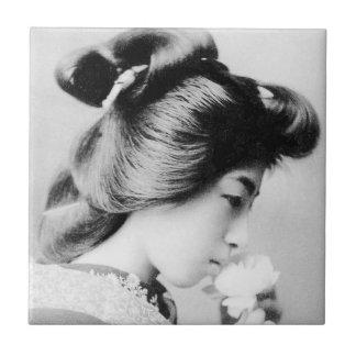 Beautiful Vintage Geisha Smelling a Flower Japan Ceramic Tile