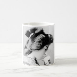 Beautiful Vintage Geisha Smelling a Flower Japan Coffee Mug