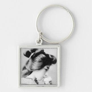 Beautiful Vintage Geisha Smelling a Flower Japan Key Ring