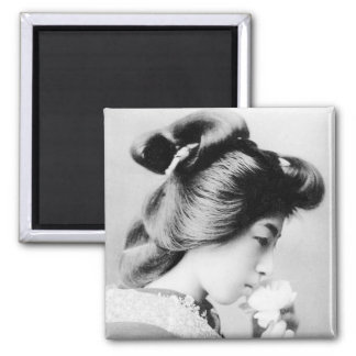 Beautiful Vintage Geisha Smelling a Flower Japan Magnet