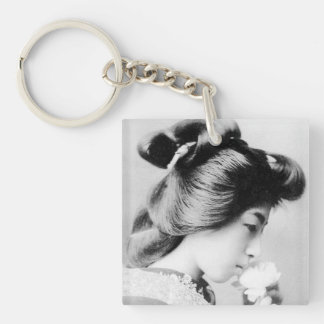Beautiful Vintage Geisha Smelling a Flower Japan Single-Sided Square Acrylic Key Ring