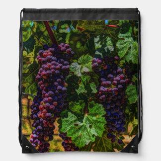 Beautiful vintage grapes on the vine. drawstring backpacks