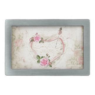 Beautiful Vintage Heart of Lace, Flowers, Rectangular Belt Buckle