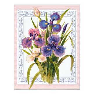 Beautiful Vintage Iris Bouquet Birthday Card