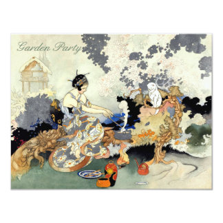 Beautiful Vintage Japanese Birthday Garden Party Card