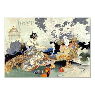 Beautiful Vintage Japanese Garden Party RSVP 9 Cm X 13 Cm Invitation Card