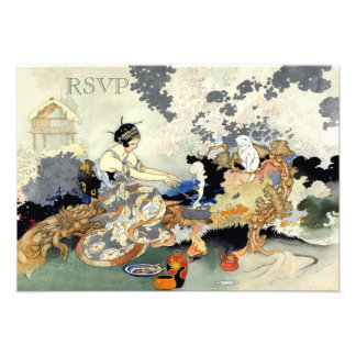 Beautiful Vintage Japanese Garden Party RSVP Personalized Announcement