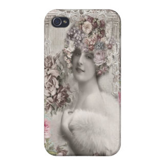Beautiful Vintage Lady with Jewels & Flowers iPhone 4/4S Cover