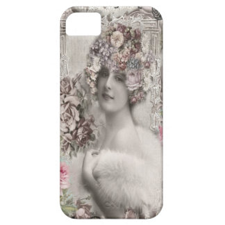 Beautiful Vintage Lady with Jewels & Flowers iPhone 5 Cases